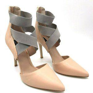 Izabella Rue Pink Nude Gray Zipper High Heels Pump